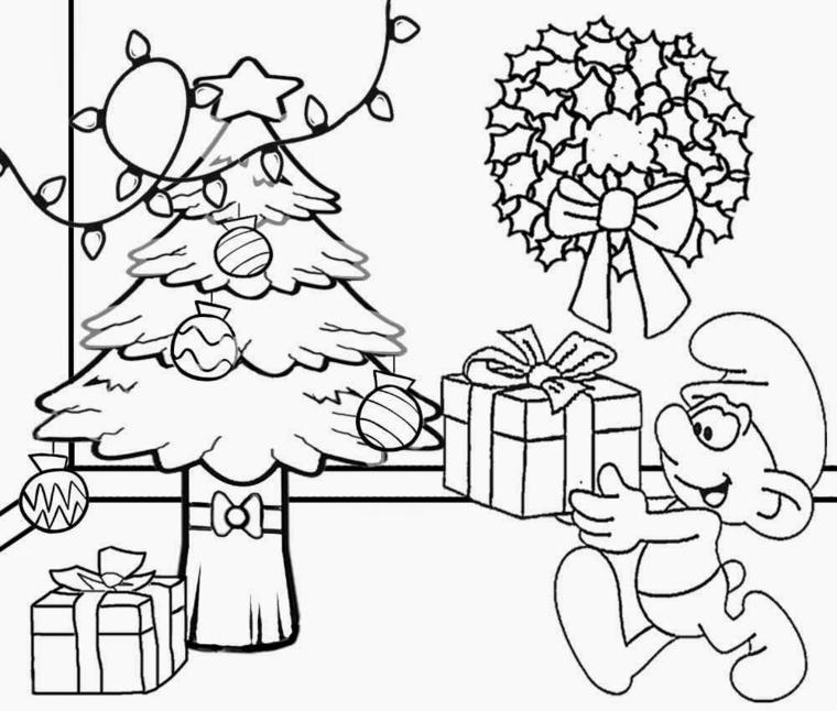 disegni da colorare di natale, un puffo con in mano un pacco regalo e tutte le decorazioni delle feste