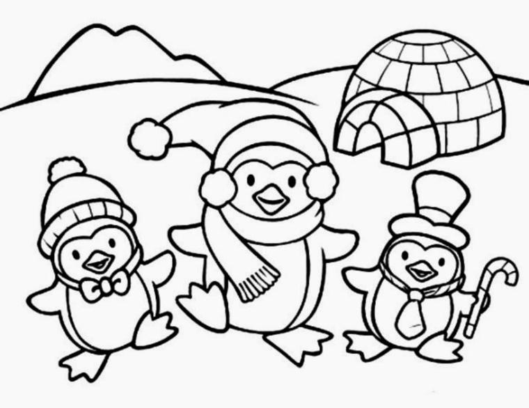 disegni di natale da colorare, tre allegri pinguini con sciarpa e cappello e tanta neve