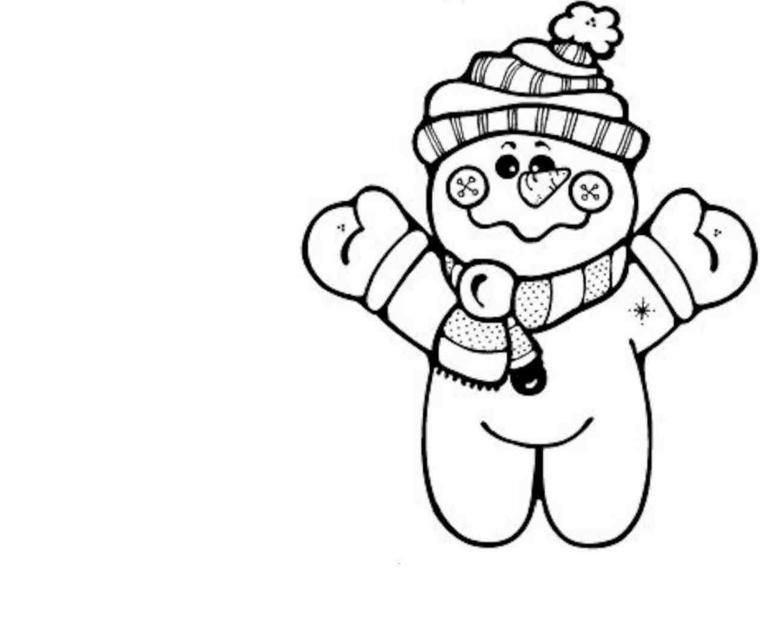 disegni da colorare di natale, un simpatico pupazzo di neve con sciarpa, cappello e guanti
