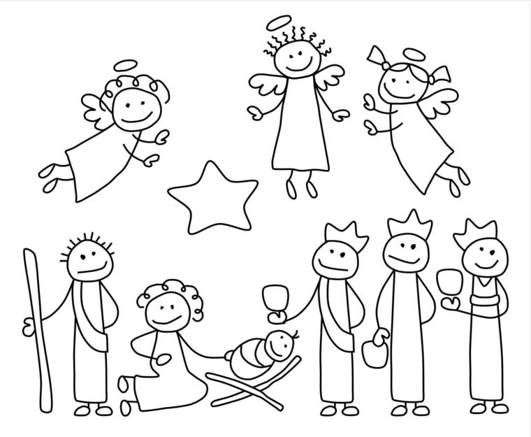 disegni di natale da colorare, tutti i personaggi del presepe compresi angeli e re magi