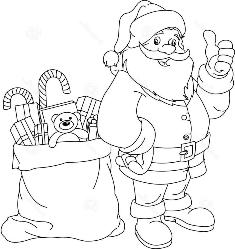 disegni natale per bambini, un sorridente santa claus con un grande sacco pieno di regali