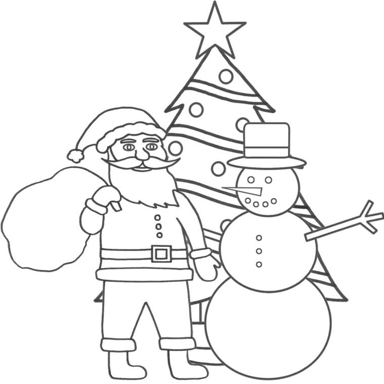disegni da colorare di natale, babbo natale insieme ad un pupazzo di neve