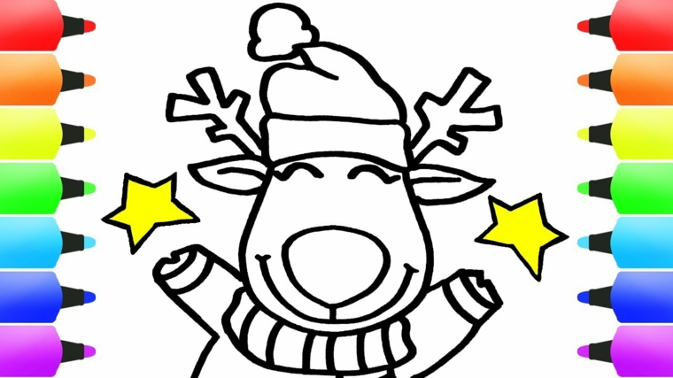 disegni da colorare natale, una renna sorridente con il cappello di babbo natale