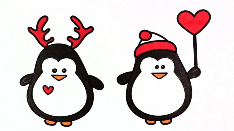 disegni sul natale, due pinguini tondi e graziosi con il cappello di babbo natale