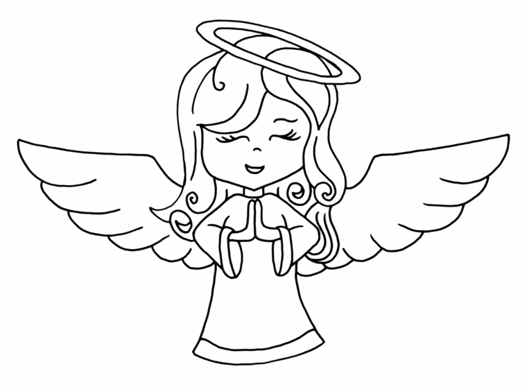 disegni natalizi per bambini, un grazioso angelo con il volto di una bambina