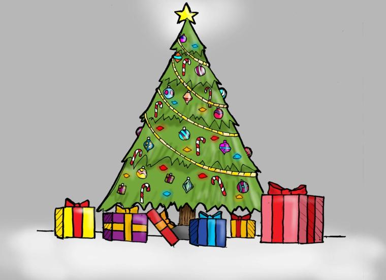 natale disegni, un grande albero decorato con ghirlande e palline, tanti pacchi regalo