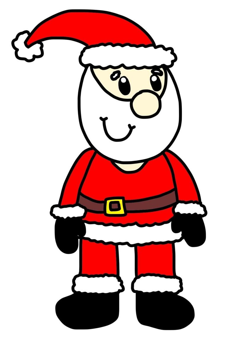 disegni natalizi, un grazioso babbo natale semplice da riprodurre anche dai più piccoli