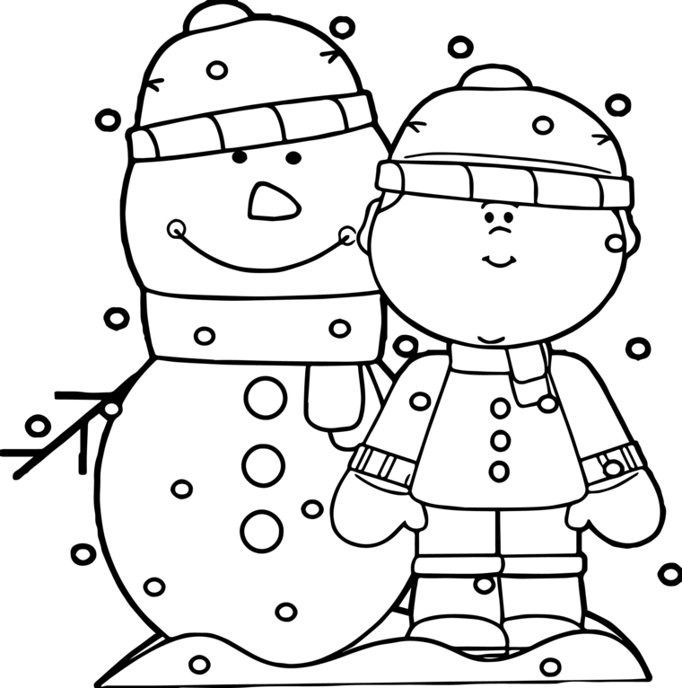 natale disegni, un'idea graziosa e semplice da riprodurre con un bimbo e un pupazzo di neve