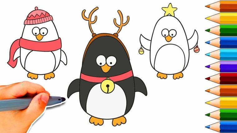 disegni natalizi per bambini, tre proposte per realizzare dei graziosi pinguini