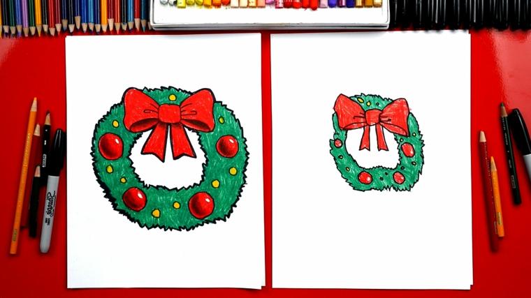 disegni natalizi, la classica ghirlanda con fiocco e decorazioni rosse