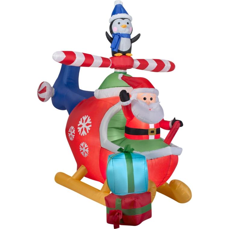immagini natalizie da colorare, un'idea divertente con babbo natale a bordo di un elicottero