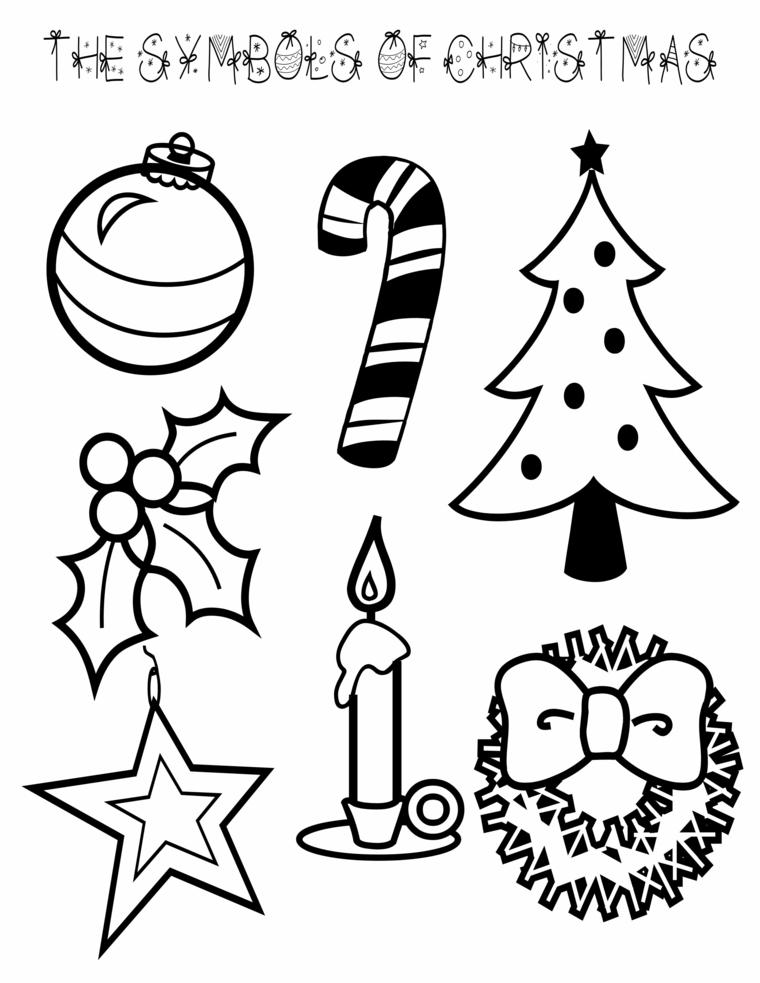 disegni da colorare di natale, alcuni fra i simboli delle feste, facili da realizzare