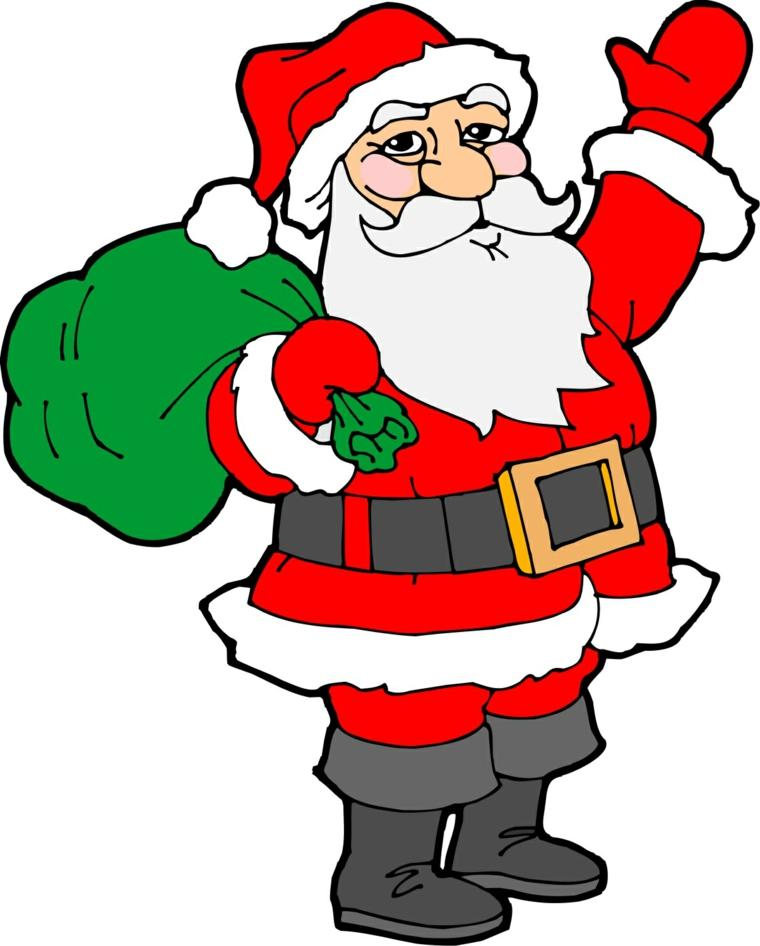 disegni natalizi, un simpatico babbo natale che saluta con il braccio alzato