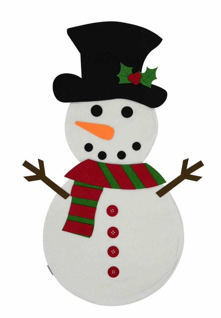 disegni natale per bambini, un grazioso pupazzo di neve con cappello e sciarpa