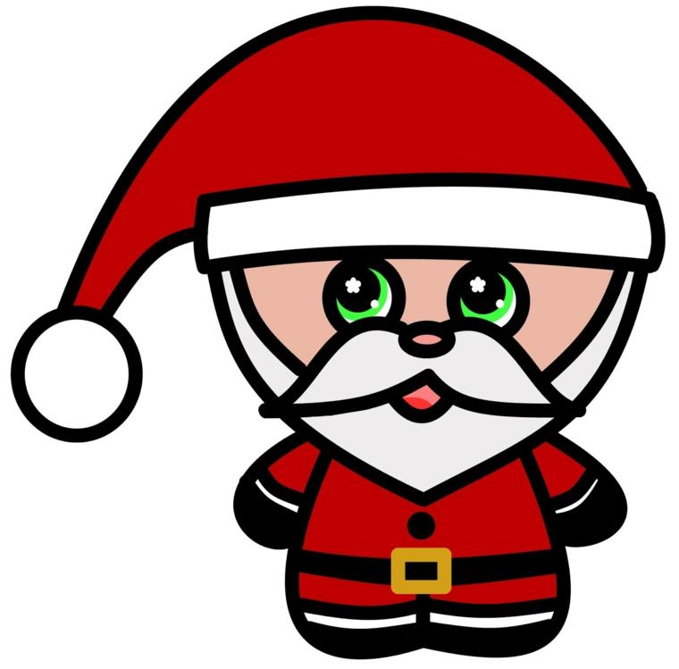 disegni natalizi, un buffo babbo natale con un grande capello, gambe e braccia corte e tonde