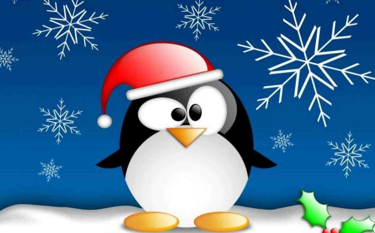 disegni di natale, un pinguino travestito da babbo natale con gli occhi buffi