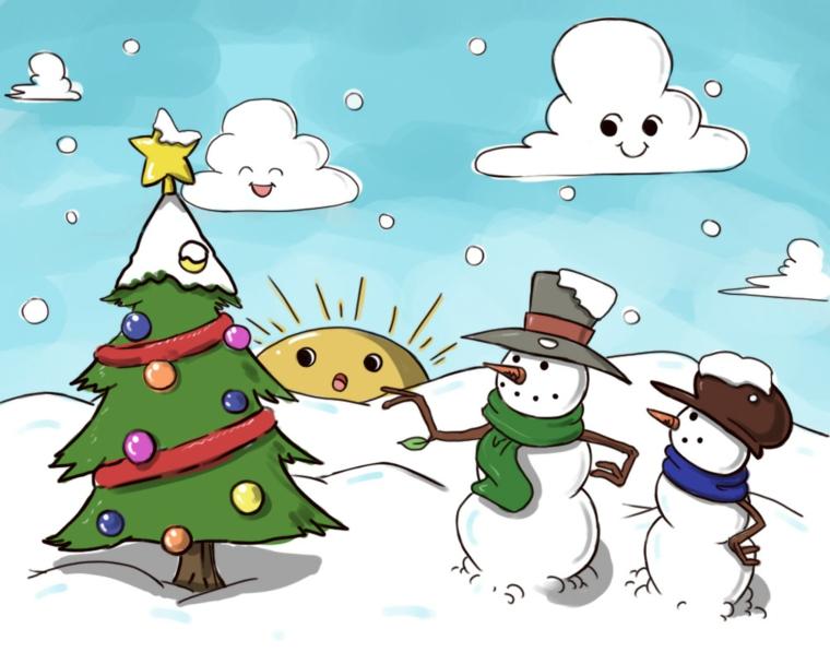 natale disegni, un tipico paesaggio invernale delle feste con albero addobbato e pupazzi di neve