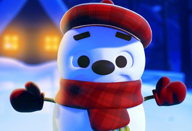 disegni natale per bambini, un grande pupazzo di neve con sciarpa, cappello e guanti