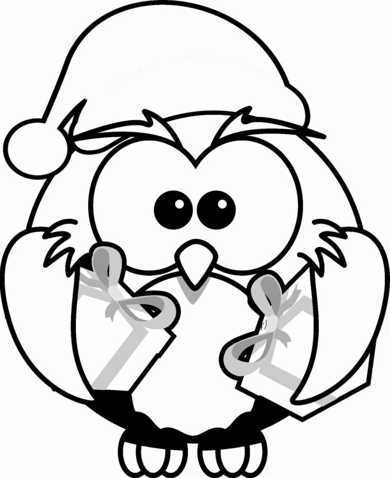 immagini natalizie d colorare, un grazioso pinguino con il cappello di babbo natale e due pacchi regali
