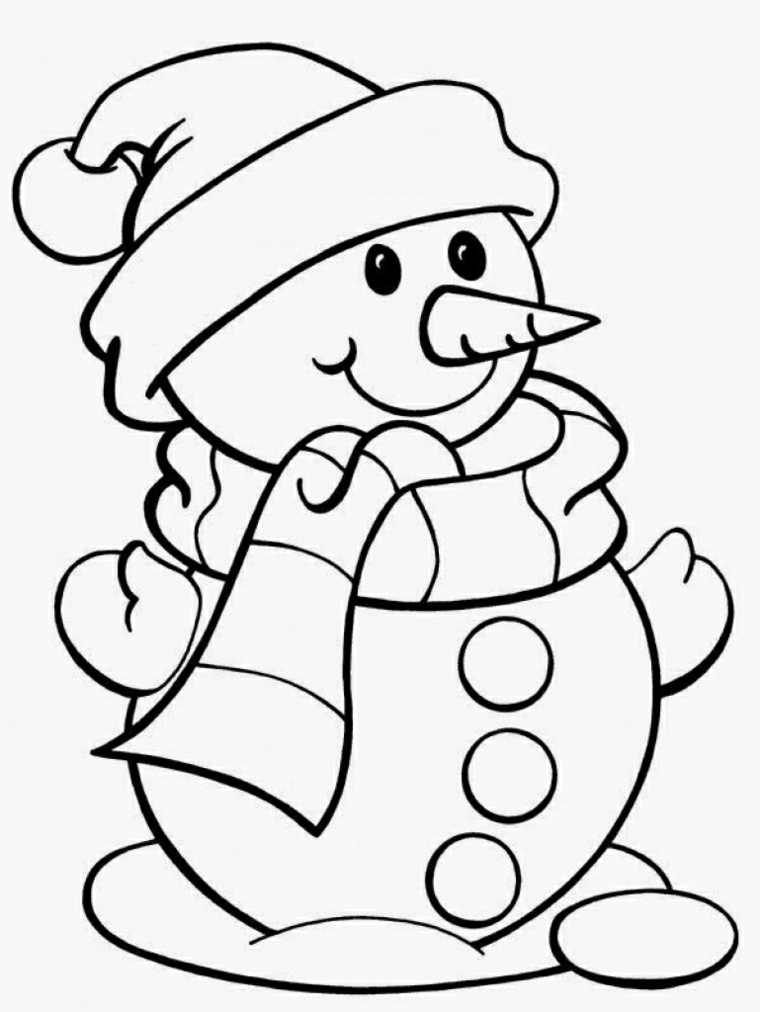 disegni di natale, un sorridente pupazzo di neve con cappello, sciarpa e un naso a forma di carota