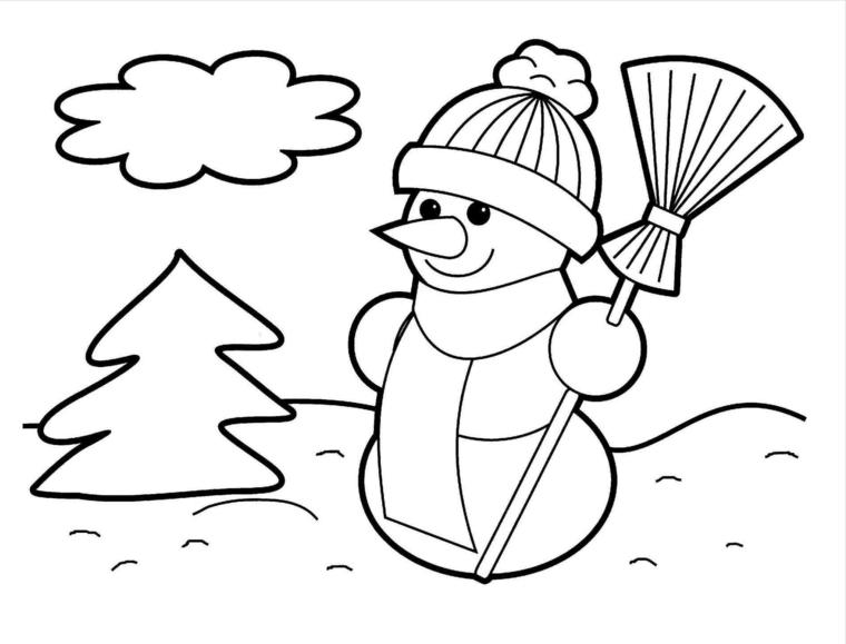natale disegni, un pupazzo di neve, una scopa, un albero e una nuvola: idea facile da realizzare