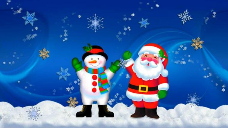 natale disegni, un pupazzo di neve e un sorridente babbo natale su un manto di soffice neve
