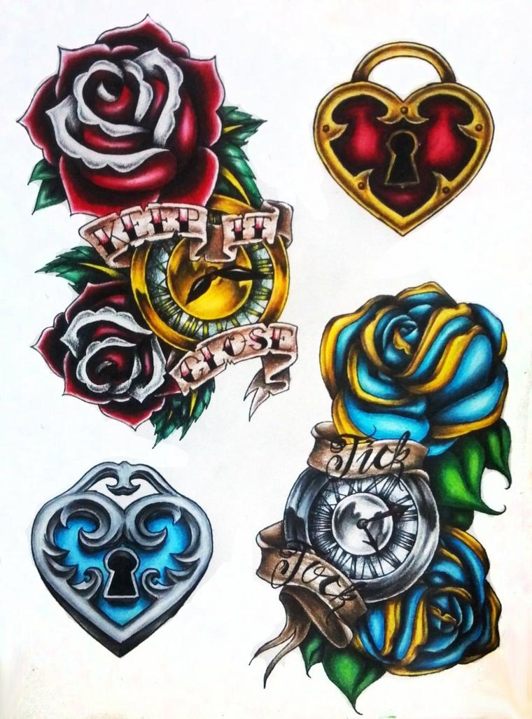 alcune idee per tatuaggi in stile tradizionale, rose, lucchetti a forma di cuore e scritte