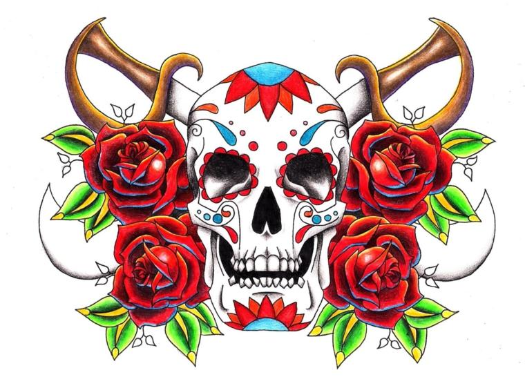 tatuaggio in stile tradizionale con un grande teschio, delle rose rosse e due spade