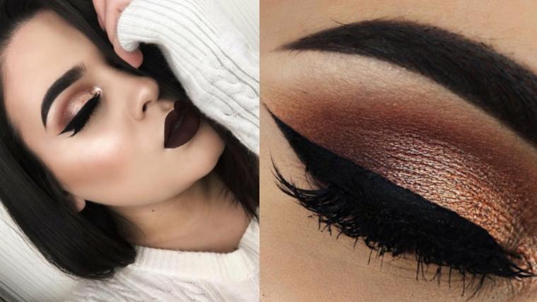 trucco seducente realizzato con dell'eye liner nero e degli ombretti luminosi nei toni del marrone