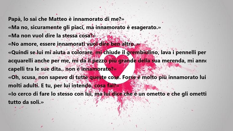 Parole d'amore, idea dedica romantica su sfondo bianco e un cuore rosa in cerchio bianco