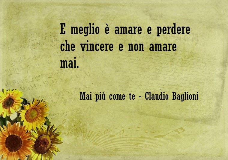 Citazioni amore e una scritta su un foglio di carta decorato con girasoli, frase canzone di Claudio Baglioni