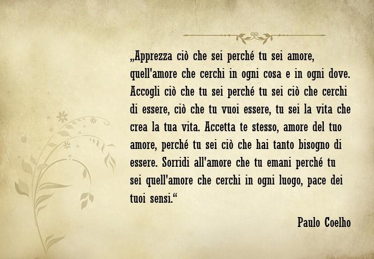 Citazioni amore e un pensiero bellissimo e romantico dello scrittore famoso Paulo Coelho