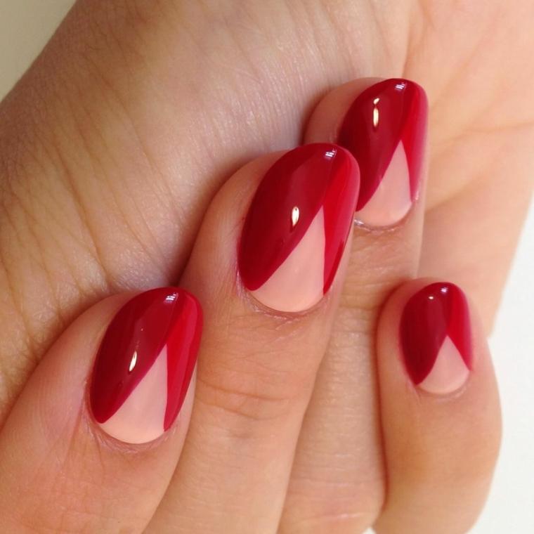 unghie in gel rosse, un'idea per realizzare una manicure originale e chic