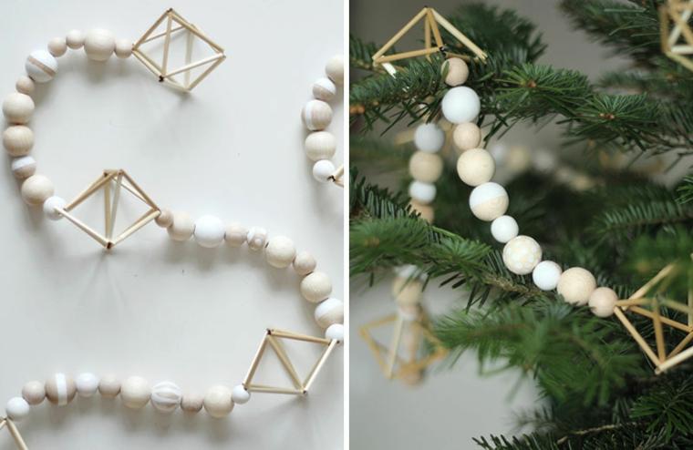 Creazione di Natale fai da te, ghirlanda in legno per addobbare l'albero di Natale