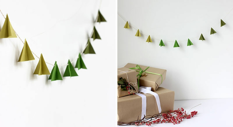Addobbi di Natale, una ghirlanda fatta da alberelli natalizi in carta di colore verde e pacchi regalo incartati