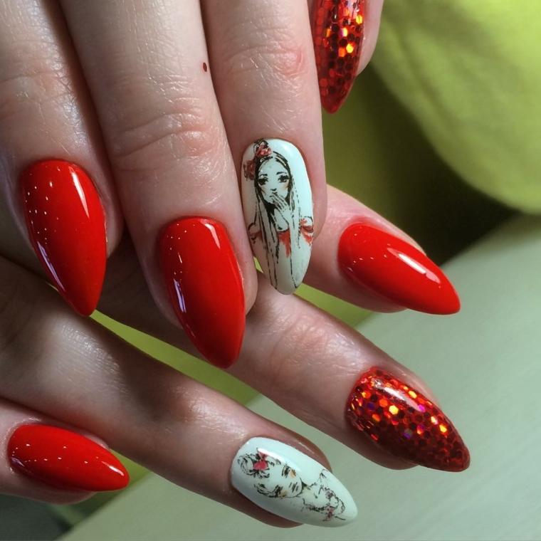 una proposta di manicure giovanile e alla moda con smalto rosso, decorazioni e glitter