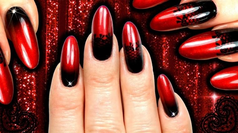 manicure in stile burlesque con smalti rossi e neri ideale per serate speciali