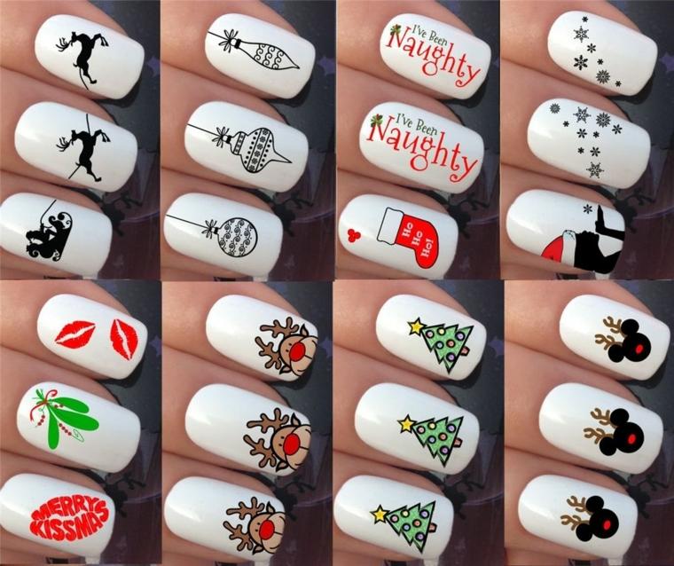 tanti adesivi in tema natalizio per decorare in modo originale le unghie durante le feste