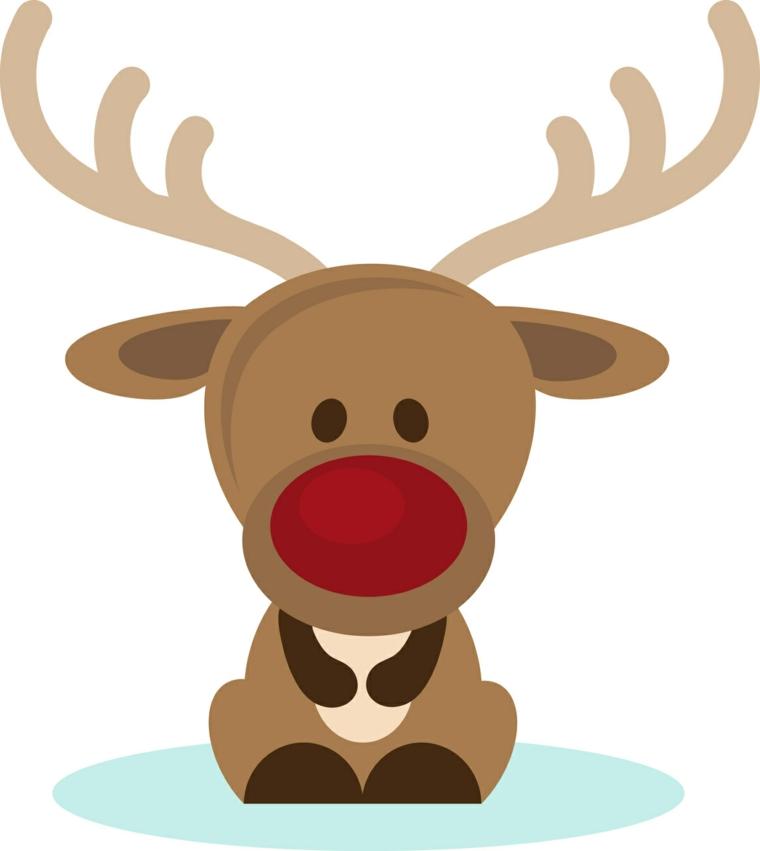 una buffa e tenera renna con un grande naso rosso da disegnare e colorare