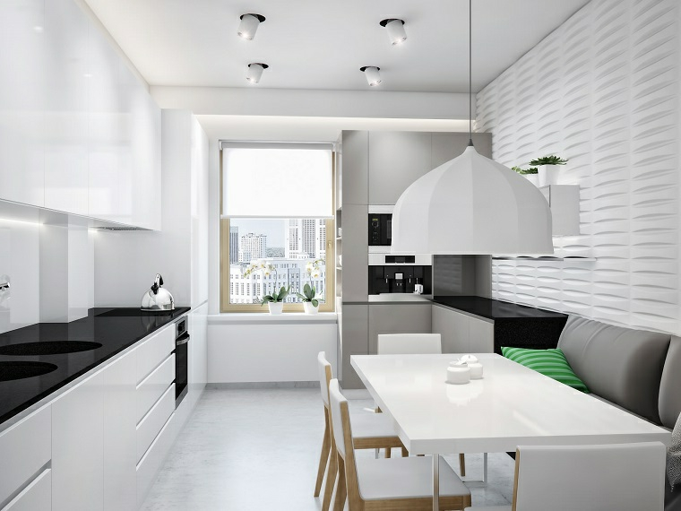 Cucine piccole e un arredamento moderno con top lucido nero e tavolo da pranzo rettangolare bianco