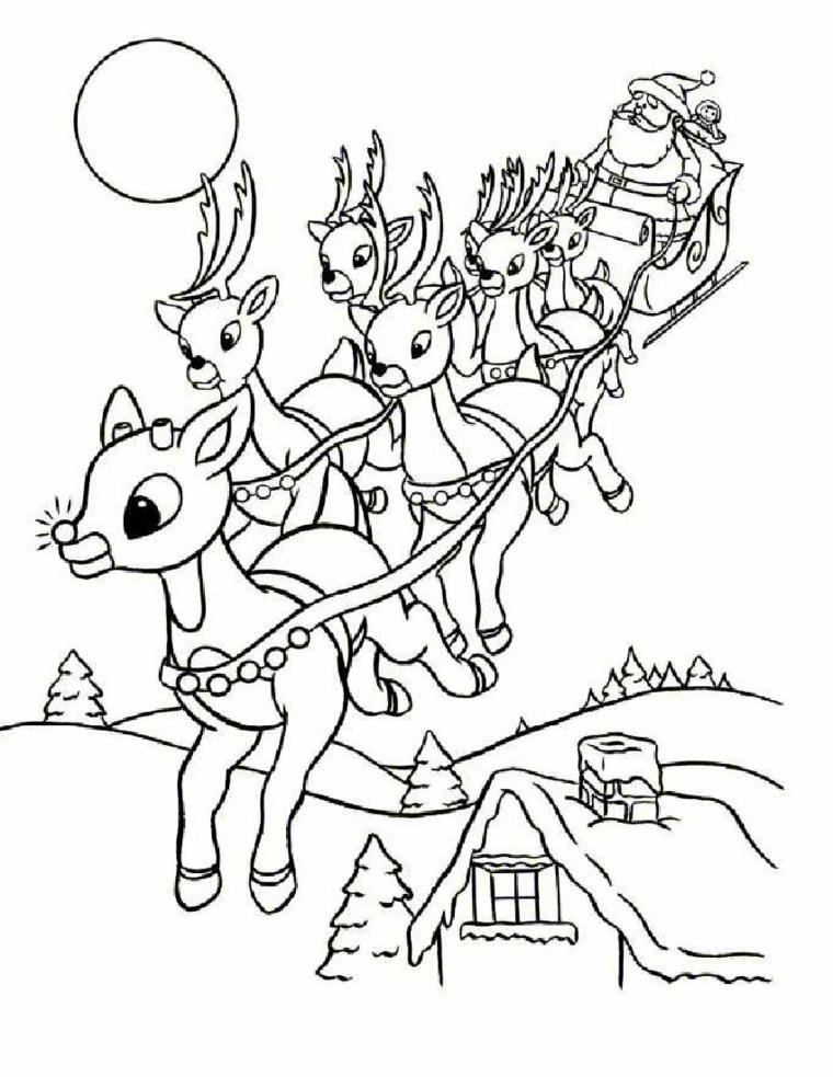 disegni da colorare natale, tante piccole e graziose renna traino la slitta di babbo natale