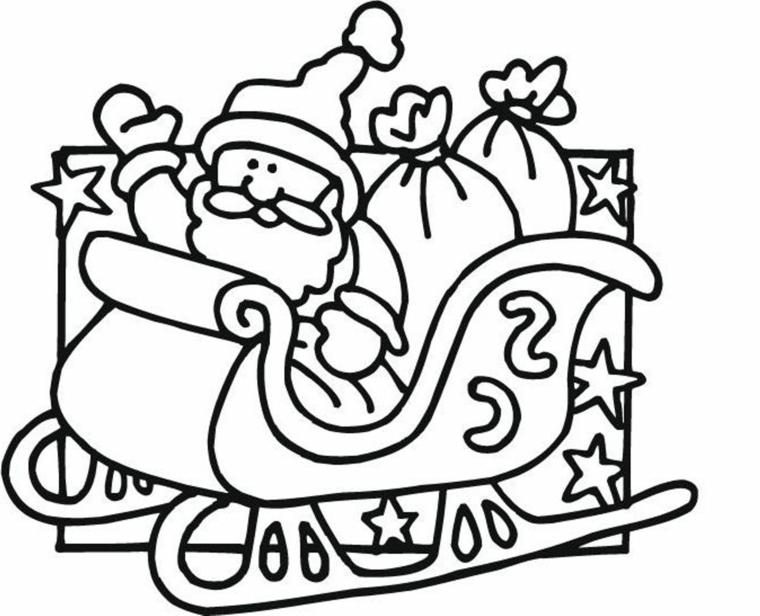 disegni sul natale, babbo natale a bordo della sua slitta con i sacchi dei regali