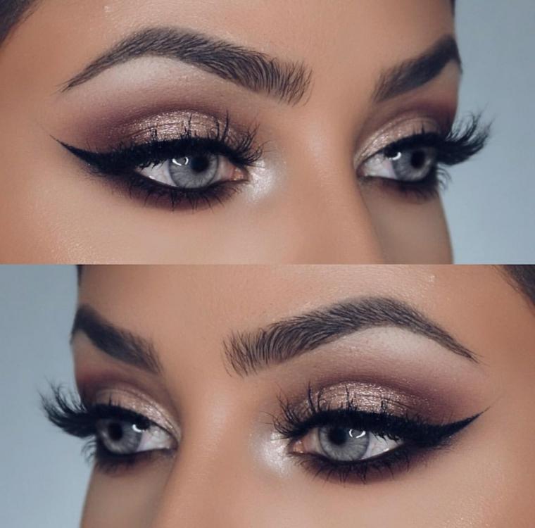 truccare occhi per ottenere un effetto allungato con dell'eye liner nero e dell'ombretto marrone brillante