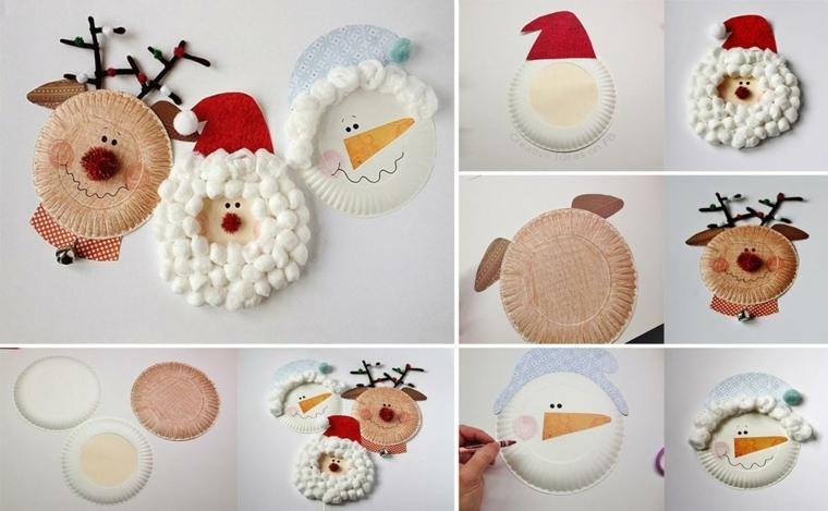 Addobbi natalizi fai da te, creazioni con piatti di carta, ovatta e cartoncini colorati