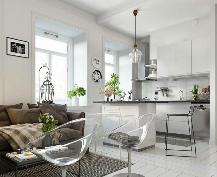 Arredamento loft dal design moderno con una cucina a vista bianca e isola centrale con sgabello alto