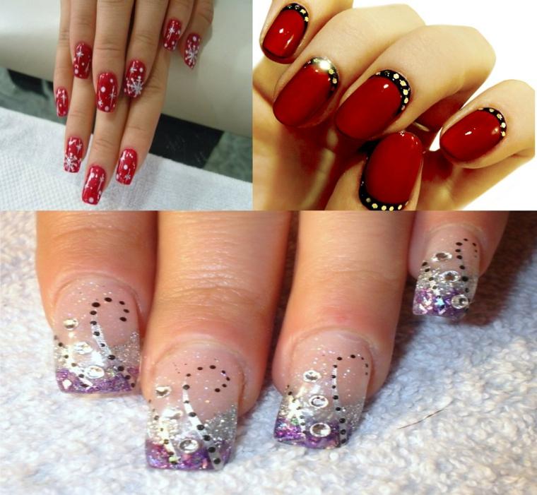 unghie decorate per natale, tre idee realizzate per le feste, due rosse e una trasparente con dei brillantini