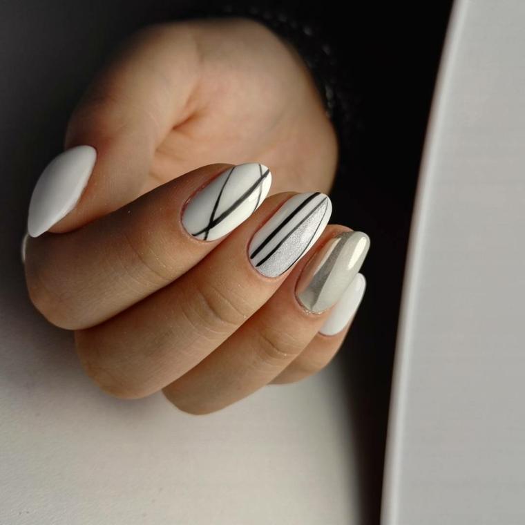 Come fare le unghie a mandorla, smalto gel di colore bianco e decorazioni con nastri