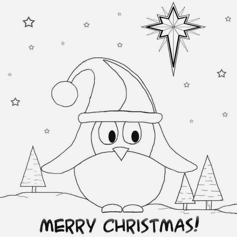 disegni da colorare natale, un grande pinguino con il cappello di babbo natale