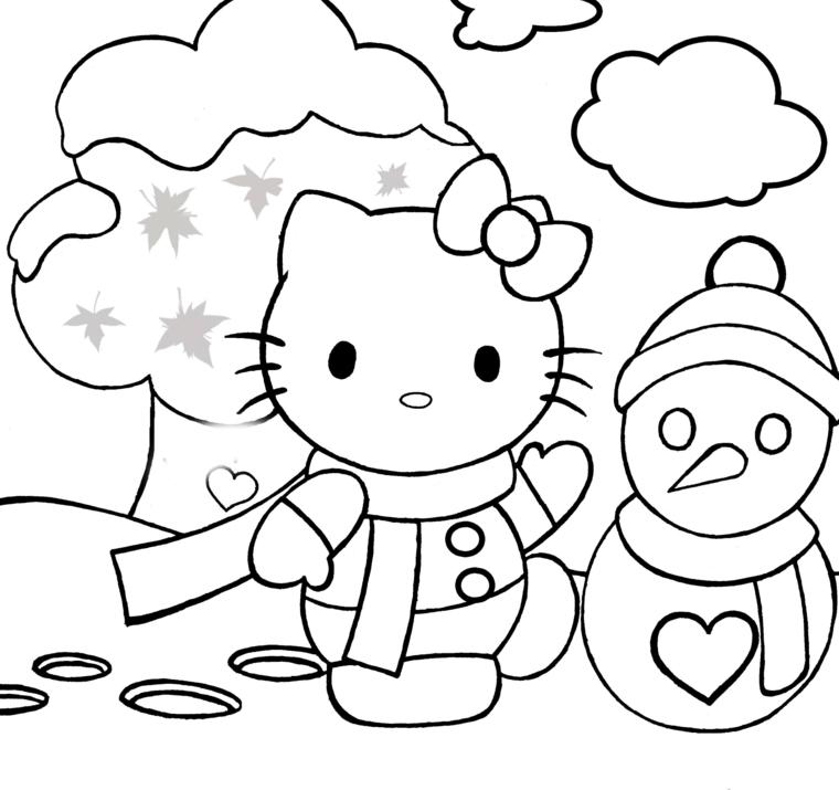 disegni di natale da colorare, hello kitty e un pupazzo di neve con un cuore