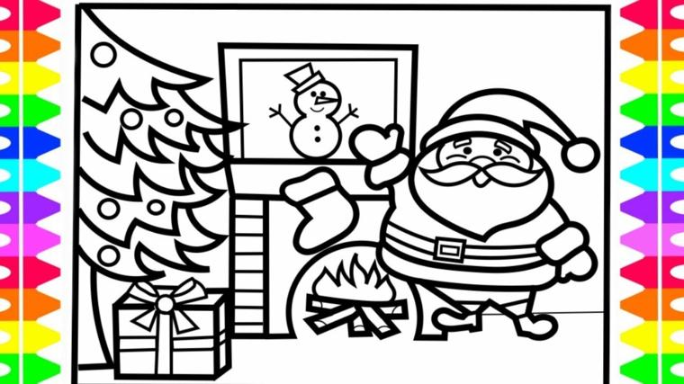 immagini natalizie da colorare, alcuni fra i soggetti più gettonati; babbo natale, un pupazzo di ve, l'albero e i regali